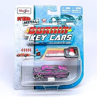 Fresh Metal Leadfoot (Gray w/Flames) Burnin' Key Cars Maisto Car with Classic Key Launcher