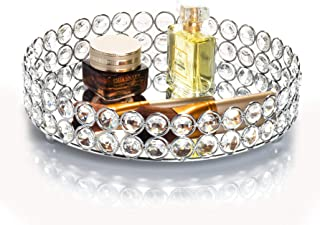 Feyarl Crystal Beads Cosmetic Round Tray Jewelry Organizer Tray Mirrored Decorative Tray (Silver)