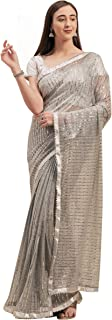Womanista Crepe Saree with Blouse Piece (WM1246_Silver_Onesize)