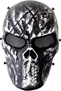 【ぴぴっと】 サバゲー スカル フェイス 防護 マスク 携帯 に 便利 な 【収納袋付き】 パーテイー ホラー コスプレ 変装 や 遊び に 宴会 黒 銀