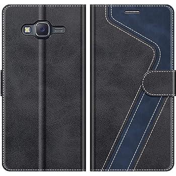 MOBESV Handyhülle für Samsung Galaxy J5 2015 Hülle Leder, Samsung Galaxy J5 2015 Klapphülle Handytasche Case für Samsung Galaxy J5 2015 Handy Hüllen, Modisch Schwarz