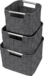 Sorbus Storage Box Woven Basket Bin Container Tote Cube Organizer Set Stackable Storage Basket Woven Strap Shelf Organizer Built-in Carry Handles (Square Round Woven Basket Set - 3 Piece, Gray)