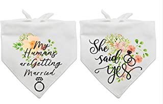 family Kitchen My Humans are Getting Wedding Married and She Said Yes Dog Bandana,Pet Scarf Accessories,Pet Accessories for Dog Lovers,Pack of 2