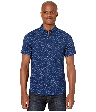 Toad&Co Mattock II Short Sleeve Shirt Slim (Dark Indigo Tree Print) Men