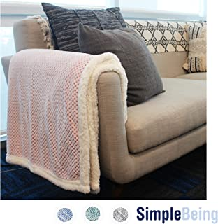 Simple Being Premium Sherpa Plush Fleece Throw Blanket for Couch, Sofa, Bed, Couch, Office Lap, Lightweight, Warm, Cozy, Soft, Fluffy, Reversible, Luxury TV Blanket - (50x65 inches, Pink)
