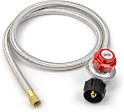 HuitzBin 4 FT High Pressure Propane 0-20 PSI Adjustable Regulator with 4 FT Stainless Steel Hose QCC1 Tank for Grill .Propane Burner, Turkey, Fryer and More Electrical appliances - CSA Certified