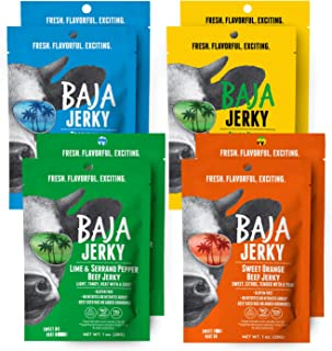Sponsored Ad - Baja Beef Jerky Variety Pack | Keto Friendly, Gluten Free, Low Calorie, Craft Jerky | 25g Protein, 100% All...
