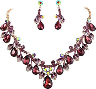 Clearine Women's Wedding Bridal Crystal Teardrop Cluster Leaf Vine Statement Necklace Dangle Earrings