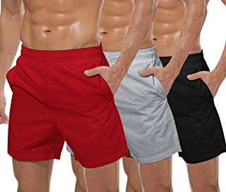 Men's 3 Pack Gym Workout Shorts Mesh Weightlifting Squatting Pants Training Bodybuilding Jogger with Pocket