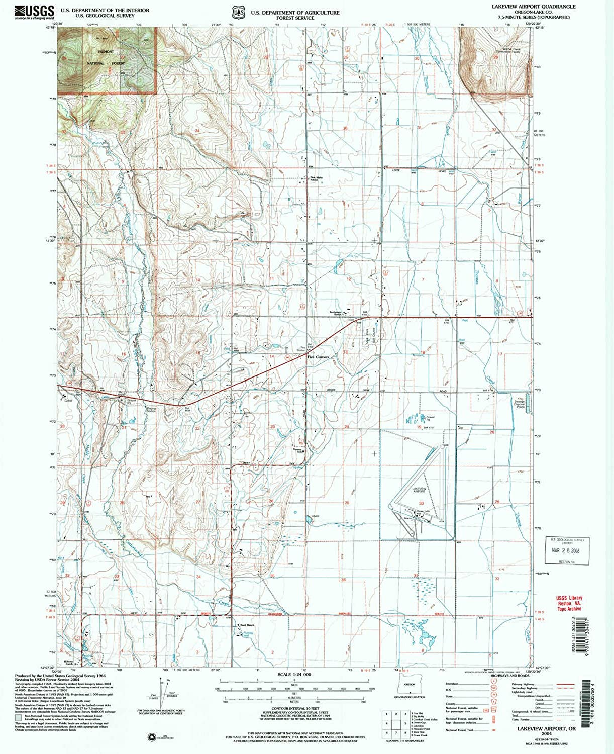Lakeview Airport OR topo map, 1 24000 Scale, 7.5 X 7.5 Minute, Historical, 2004, Updated 2007, 26.8 x 22 in
