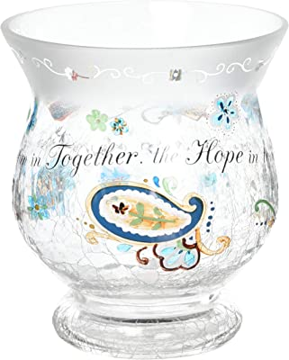 Pavilion Gift Company Perfectly Paisley Love Crackled Glass Candle Holder, 5-1/2-Inch Tall, Inspirational Saying