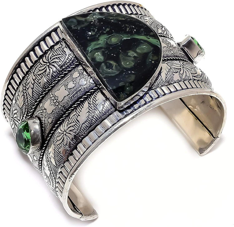 Galaxy Jasper SALENEW very popular Peridot Gemstone 925 Max 46% OFF Sterling Cuff Bracele Silver