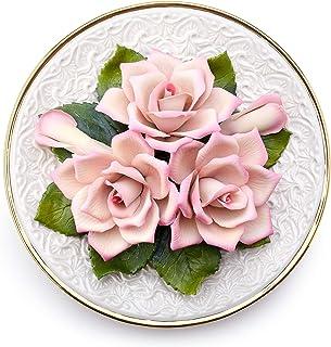Piatto Con Rose Fatto A Mano In Porcellana Da Appendere In Stile Capodimonte