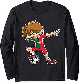 Dabbing Soccer Girl Portugal Jersey, Portuguese Kids Dab Long Sleeve T-Shirt