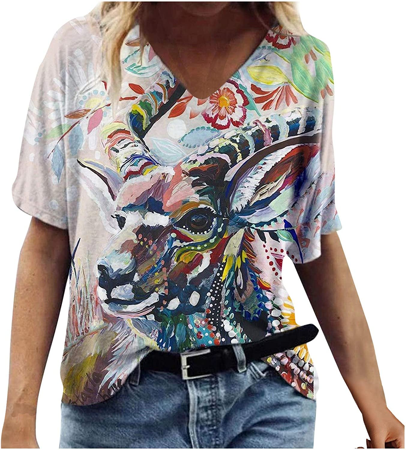MASZONE Summer Tops for Women, Womens V-Neck Short Sleeve T-shirts Floral Plus Size Tops Casual Loose Tunic Blouse