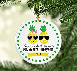 Flowershave357 Pineapple Ornament Mr and Mrs Ornament Couple Ornament First Christmas Married Personalized Christmas Ornament Christmas Couple
