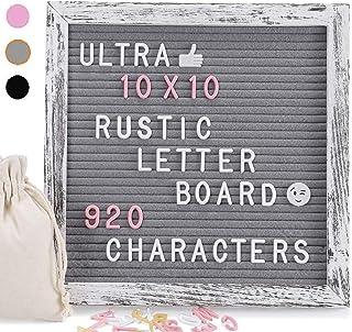 Letter Board 25 x 25 cm Fieltro Letter Board con 920 letras blancas amarillas y símbolos rosas, material vintage gris made...