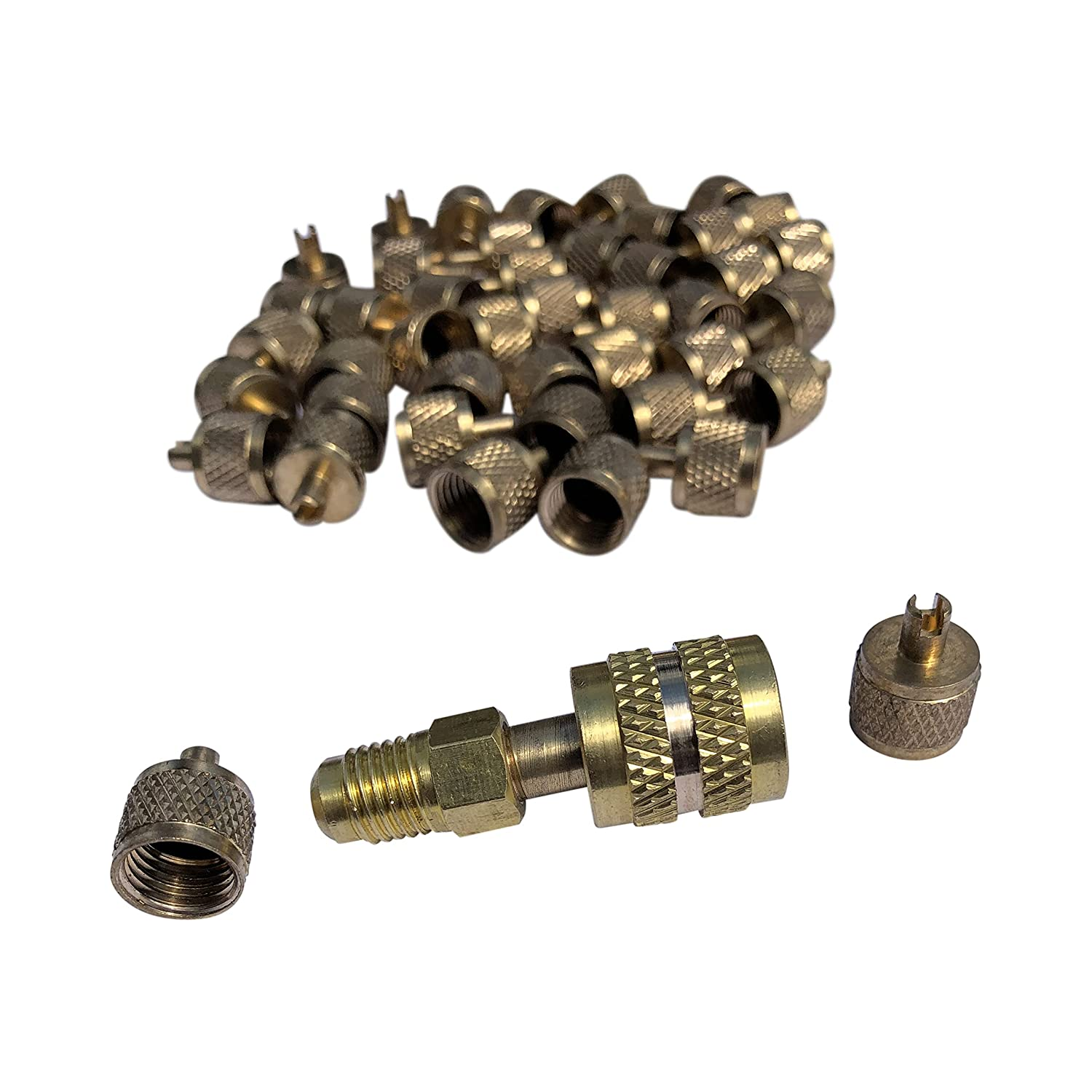 """50 Free Shipping Cheap quality assurance Bargain Gift ¼"""" Brass Refrigeration Access with Re Valve Caps Core"""