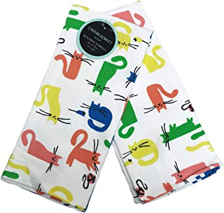 Cynthia Rowley Cute Colorful Cats Set of Two Decorative Kitchen Guest Hand Towels 18