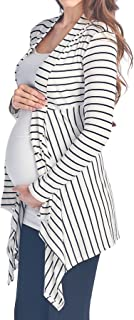 Beachcoco Women's Maternity Open-Front Stripe Rib-Cardigan Made in USA