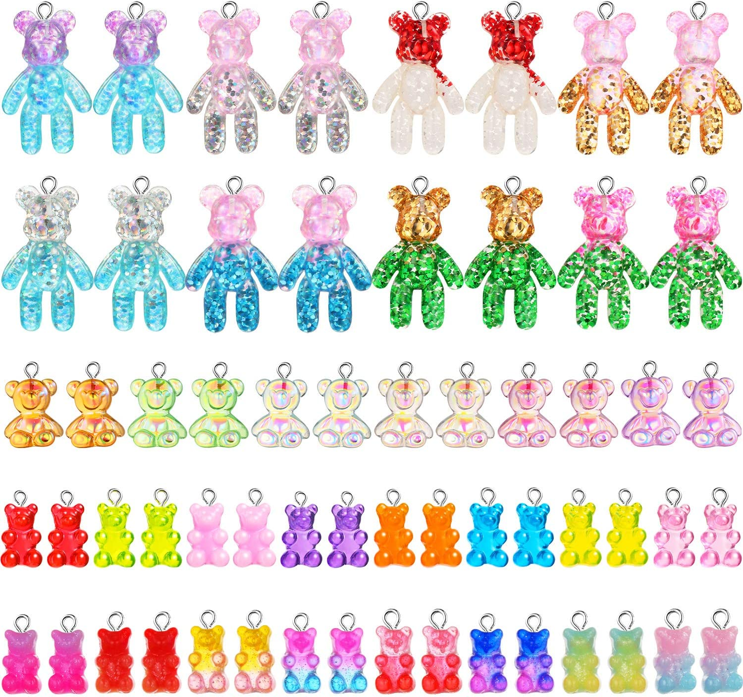 60 Pieces Oakland Mall Colorful Gummy New product!! Charms Keychain Pendant Bear Resin