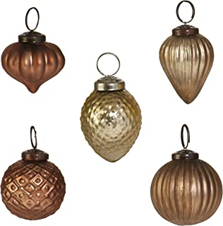 RAZ Imports Modern Metallics Multicolored Glass Assorted Boxed Set of 5 Christmas Ornaments