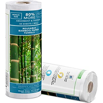 Bamboo towels (40 Sheets Roll) | Bamboo Reusable Paper Towels | Unpaper Towels | Strong & Absorbent | 100% Organic | Lint Free| Heavy Duty | Machine Washable | 1+ Years of Supply | Zero Waste