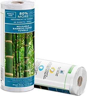 Zero Waste | Reusable Bamboo Paper Towels| 50 Sheets-Roll | Unpaper Towels | Strong & Durable | 100% Biodegradable & Organ...