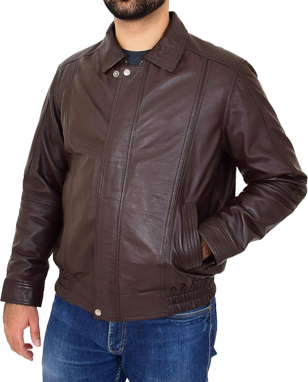Genuine Brown Leather Blouson Jacket For Gents Classic Bomber Regular Fit Coat Albert