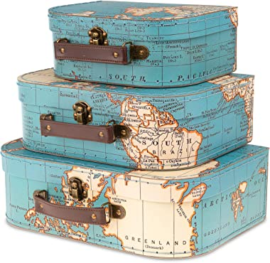 Jewelkeeper Paperboard Suitcases, Set of 3 – Nesting Storage Gift Boxes for Birthday Wedding Easter Nursery Office Decoration