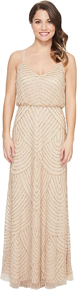 Petite Long Beaded Blouson Slip Dress