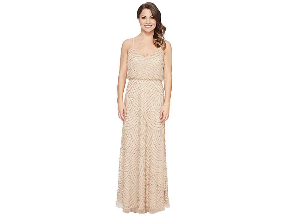 Adrianna Papell Petite Long Beaded Blouson Slip Dress (Champ/Gold) Women