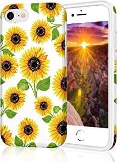iPhone 7 Case for Girls, iPhone 8 Case, Cute Slim Fit Shockproof Glossy TPU Soft Rubber Silicone Cover Phone Case for Apple iPhone 7 / iPhone 8 Yellow Sunflowers