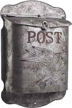 Rustic Galvanized Metal Bird Post Mailbox - Shabby Chic Style Decor