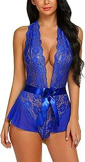 Avidlove Women Lingerie Lace Halter Teddy Bodysuit Deep Plunge Babydoll Nightwear