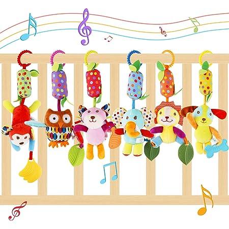 FancyWhoop Juguete Colgante para Bebé 6 Pack Juguetes de Sonajero para Colgar Juguete para Cuna de Bebé Educativo Sensorial de Animales Suaves para Regalos de Cumpleaños de Niños y Niñas de 3 6 9 12