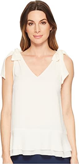 Short Sleeve V-Neck Layered Blouse