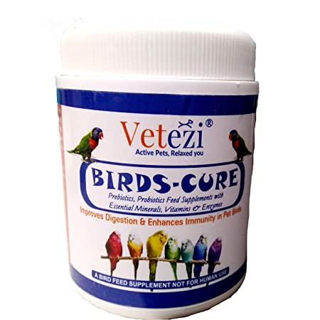 Vetezi Birds-Cure by 'Tom and Birdy' | Food Supplement for Pet Birds | Prebiotics, Probiotics, Enzymes, Vitamins for Better Health & Immunity (100g)