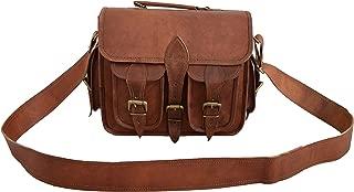 Vintage Leather DSLR Camera Briefcase Satchel Messenger Shoulder Bag 9x11 inch Small