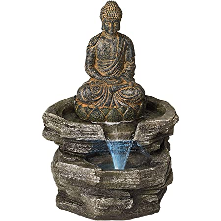 Amazon Com Sitting Buddha Rustic Zen Outdoor Floor Water Fountain With Light Led 21 High For Yard Garden Patio Deck Home Relaxation John Timberland Outdoor Statues Garden Outdoor
