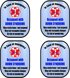 Down Syndrome 4 Pack Medical Alert Safety Window Decal Sticker