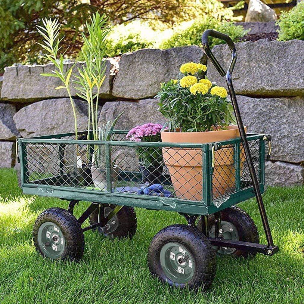 Garden Carts Lawn Wagon,Outdoor Utility Cart Steel Yard Dump Wagon Cart with 4 Wheels,Heavy Duty Frame,Utility Yard Dump Cart Wagon Carrier for Garden Farm Beach Lawn Landscape,300lbs Capacity,Green