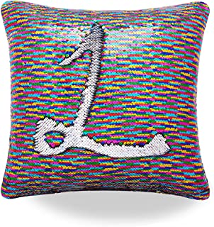 Livedeal Reversible Sequins Mermaid Pillow Cases 4040cm (Rainbow and Silver)