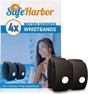 SafeHarbor Motion Sickness Wristbands   4 Travel Wrist Bands, Cruise Essentials   Natural Sea Sickness and Nausea Relief in Children and Adults   Helpful E-Book Included