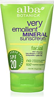 Alba Botanica Very Emollient Mineral Sunscreen Facial, SPF 20 4 oz