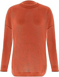 Suéter Informal Ahuecado para Mujer, jerséis de Manga Larga, Blusa Suelta, Jersey de Cuello Redondo, suéteres Suaves de El...