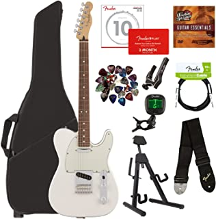 Fender Player Telecaster, Pau Ferro - Polar White Bundle with Gig Bag, Stand, Cable, Tuner, Strap, Strings, Picks, Capo, Fender Play Online Lessons, and Austin Bazaar Instructional DVD