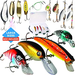 Top Fishin Fishing Hard Lures Set with Box-Various ABS Plastic Crankbaits Minnow and Metal Spinners Spoons with Tackle Box for Freshwater and Saltwater Ideal for Bass Trout Walleye Pike Perch Salmon