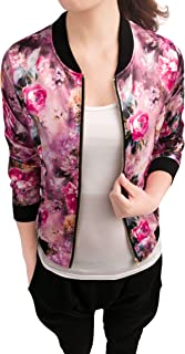 Women's Stand Collar Zip Up Floral Prints Bomber Jacket