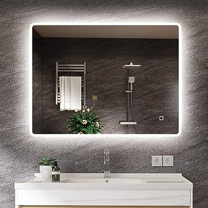S Bagno 600 X 800 Mm Bathroom Mirror Led Illuminated Bathroom Mirror Ip44 Rated Rectangular Wall Mirror With Backlight And Touchless Sensor Switch Amazon De Lighting